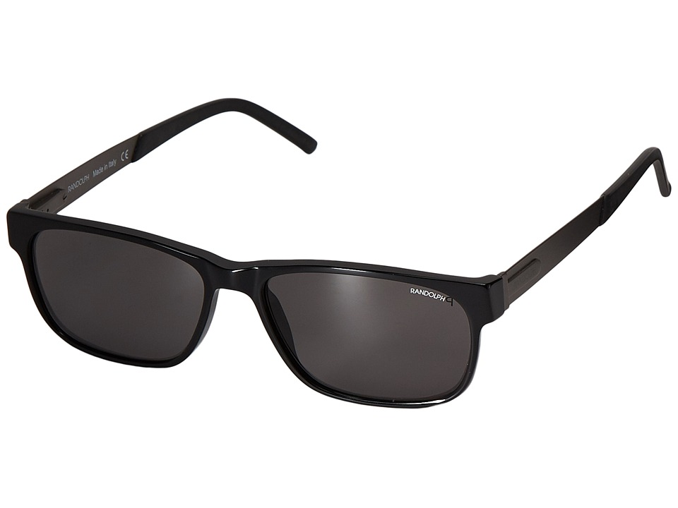 Randolph - Hyannis 55mm Polarized (Black Acetate/Gray Polarized PC) Fashion Sunglasses