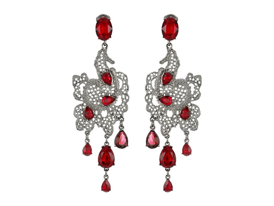 Oscar de la Renta - Lace Long Drop C Earrings (Ruby) Earring