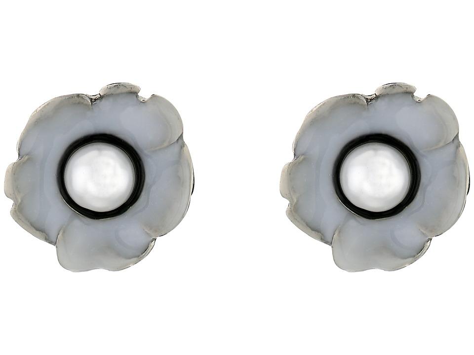 Oscar de la Renta - Flower Pearl Button C Earrings (White/Black) Earring