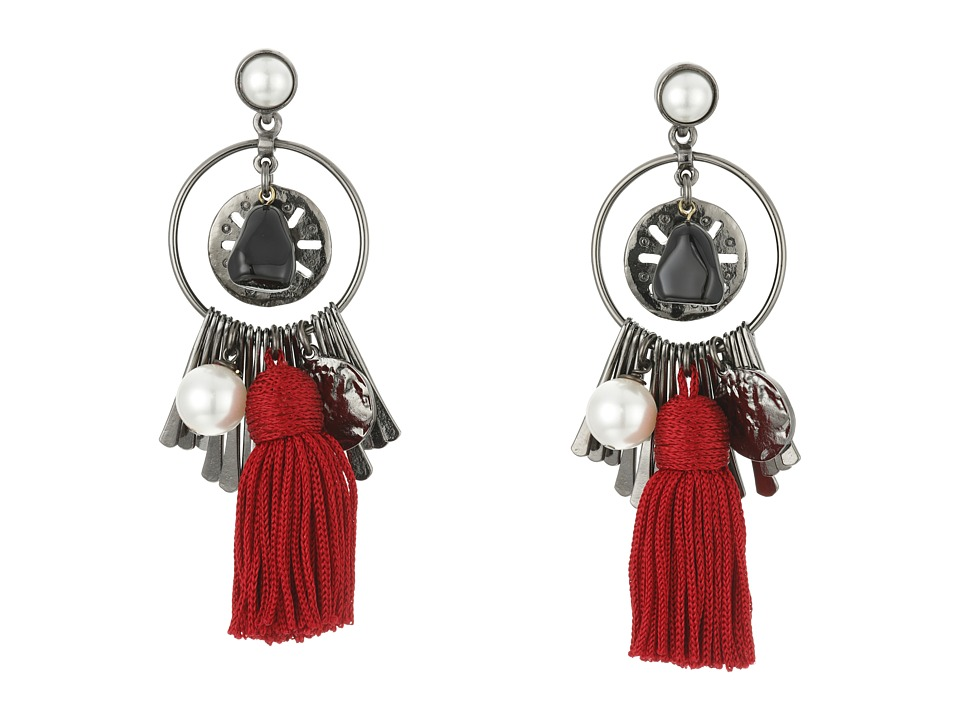 Oscar de la Renta - Tassel Charm P Earrings (Ruby) Earring