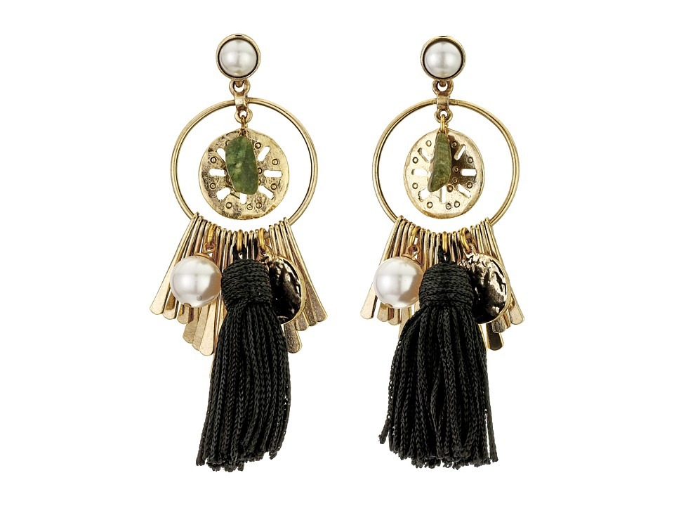 Oscar de la Renta - Tassel Charm P Earrings (Black) Earring