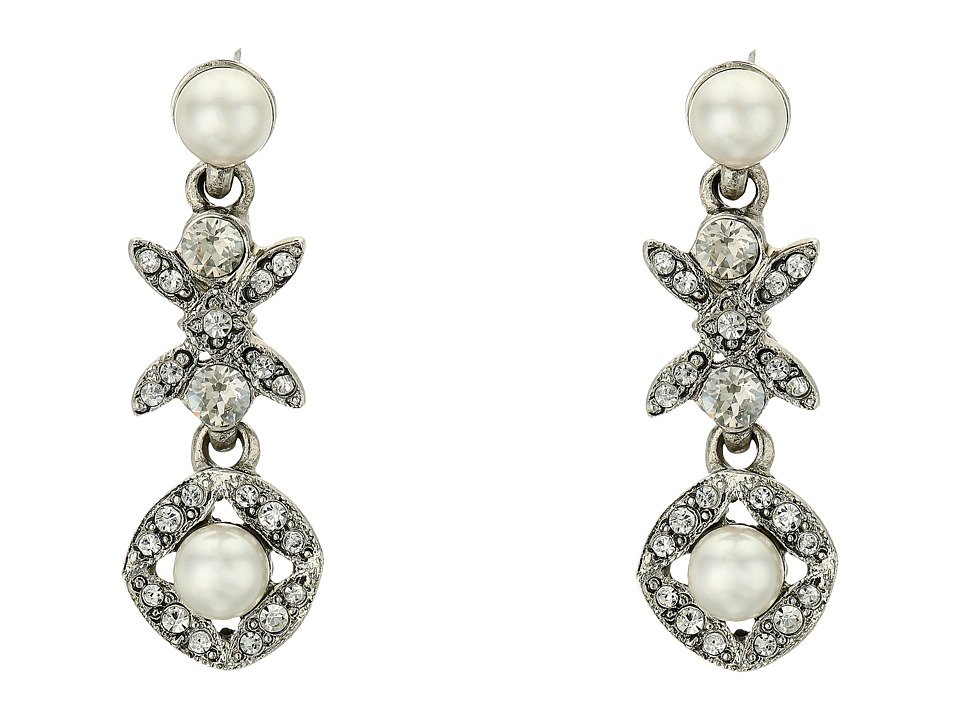 Oscar de la Renta - Lattice Pearl Small Drop P Earrings (Silver) Earring
