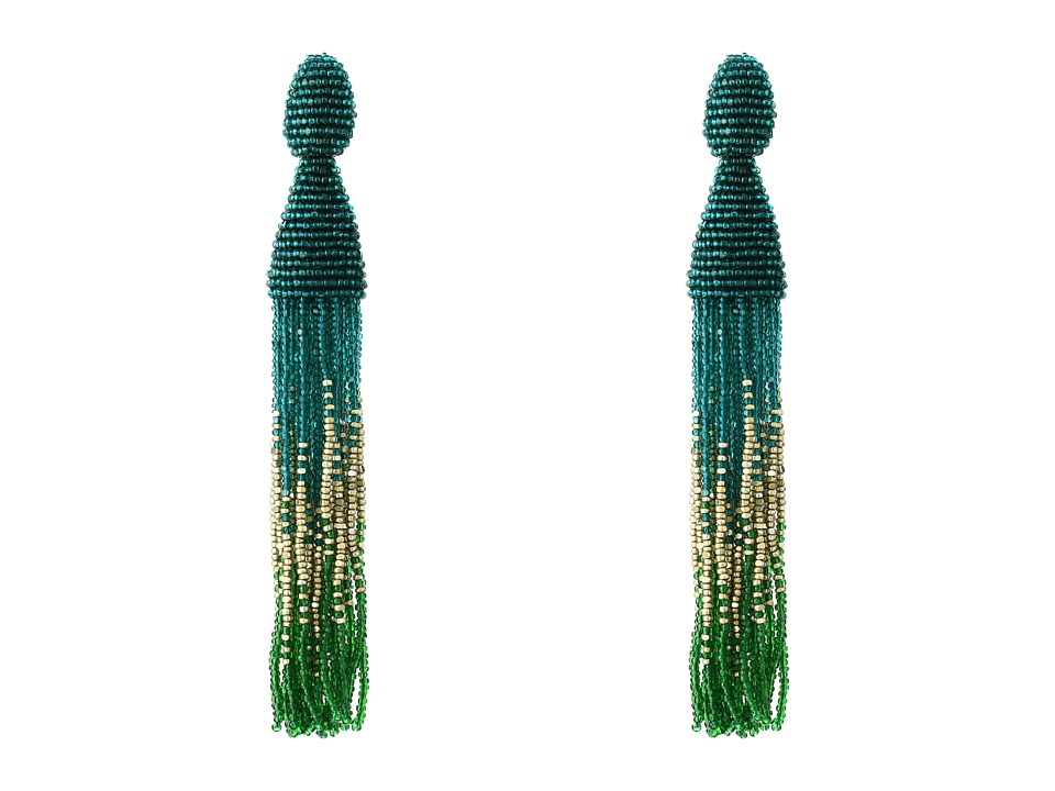 Oscar de la Renta - Ombre Long Beaded C Tassel Earrings (Teal) Earring
