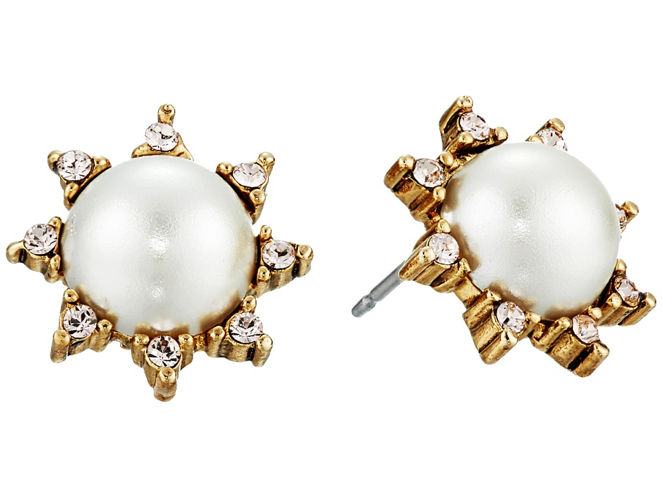 Oscar de la Renta - Pearl Filigree Stud P Earrings (Light Gold) Earring