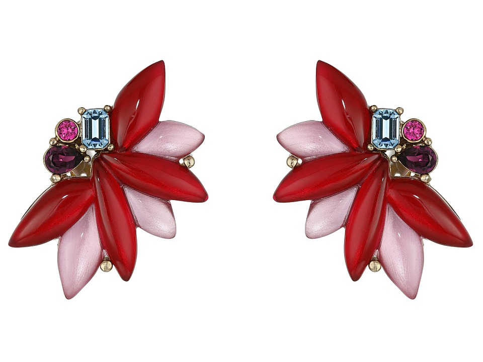 Oscar de la Renta - Navette Petal C Button Earrings (Ruby) Earring