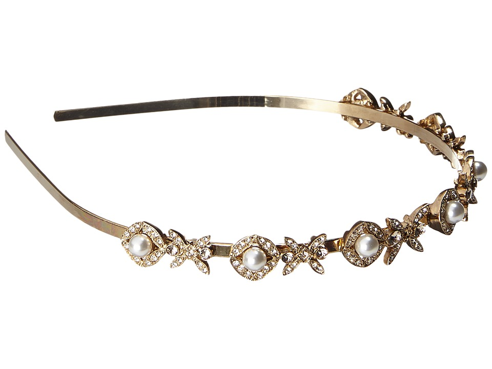 Oscar de la Renta - Lattice Pearl Headband (Light Gold) Headband