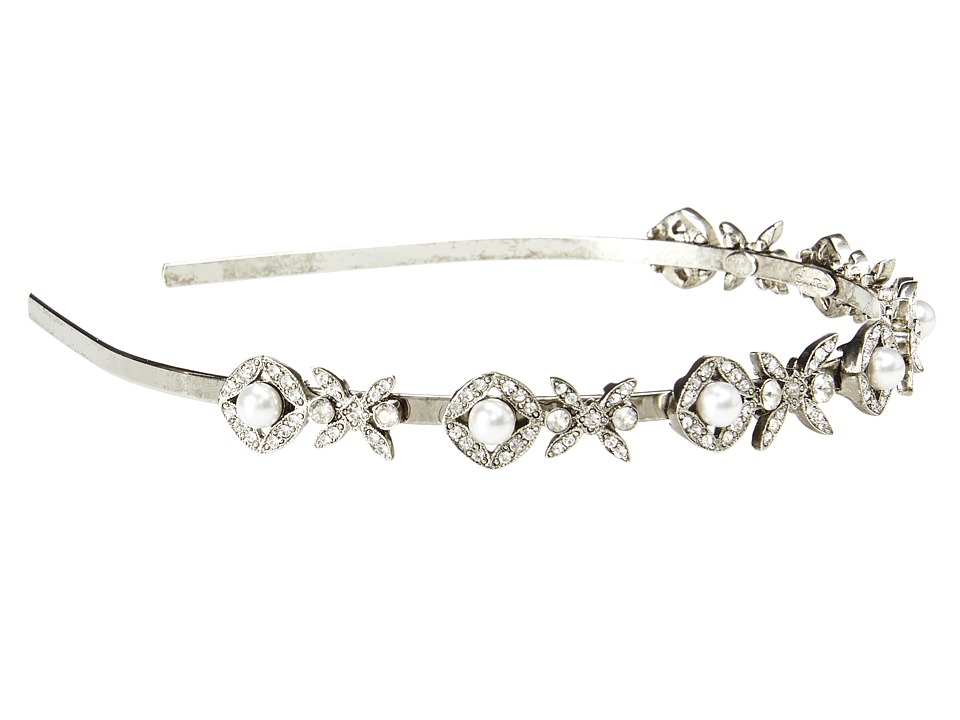 Oscar de la Renta - Lattice Pearl Headband (Silver) Headband