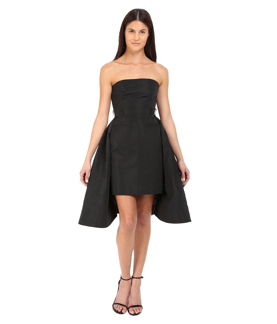 Vera Wang Bustier Dress w/ Tailored Pencil Skirt and Pleated Back (Black) Women