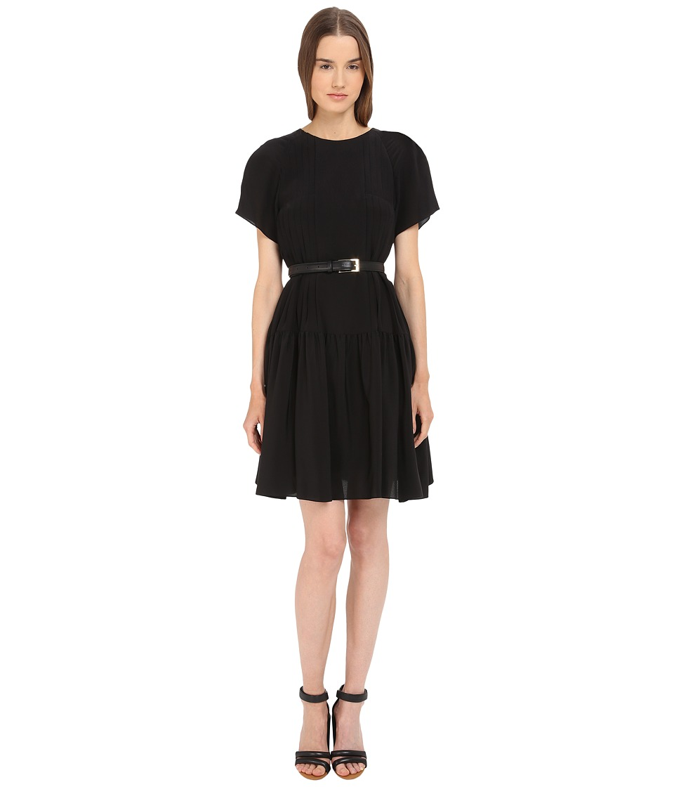 Vera Wang - Short Sleeve Pleated Peasant Dress (Black) Women's Dress