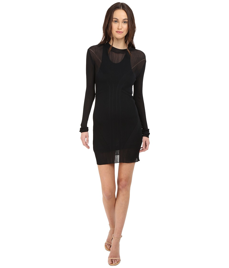 Vera Wang Long Sleeve Ribbed Dress (Black) Women