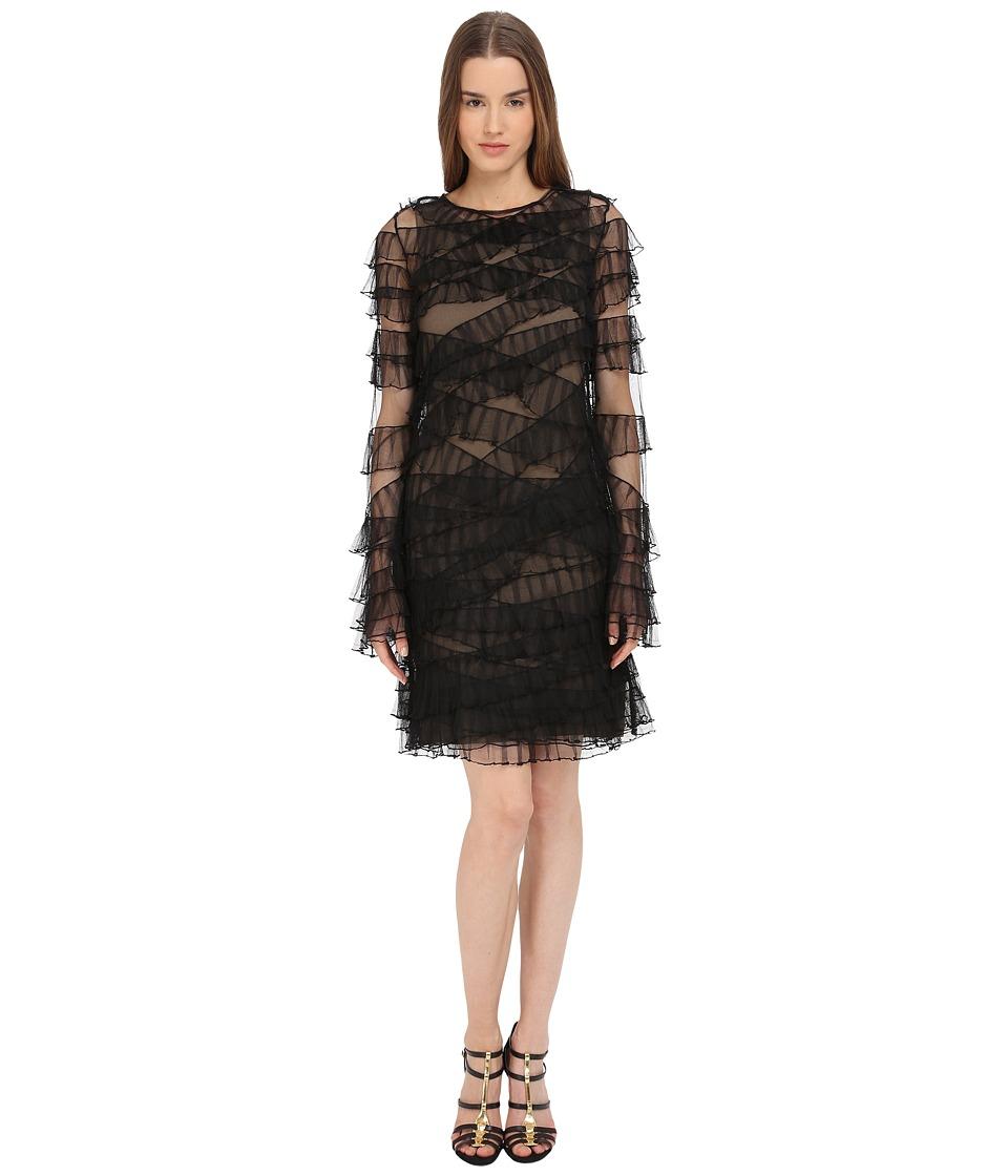Vera Wang - Sleeveless Dress w/ Ruffled Detail (Black) Women's Dress
