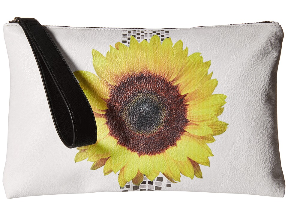 CARLOS by Carlos Santana - Kasandra Wristlet Clutch (White Sunflower) Clutch Handbags