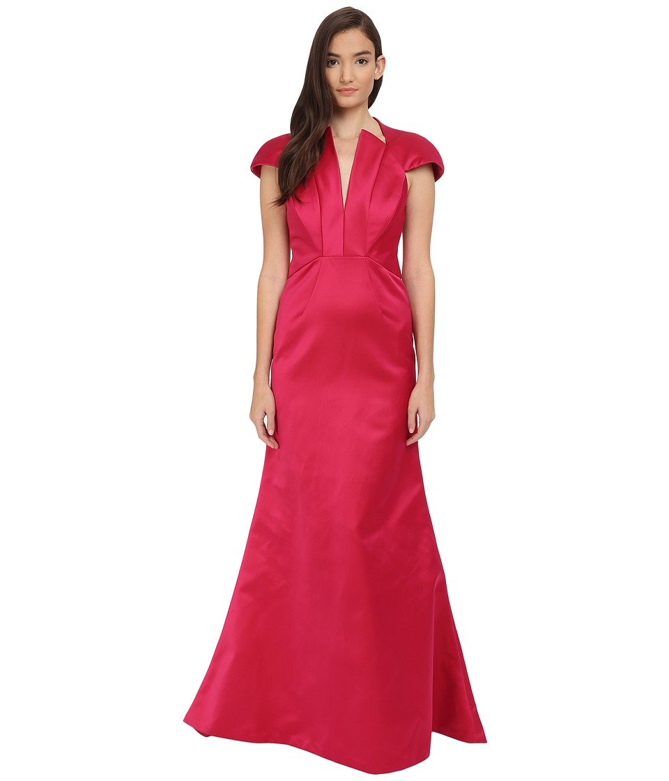 Zac Posen Bonded Crepe V-Neck Sleeveless Gown Fuchsia Dress