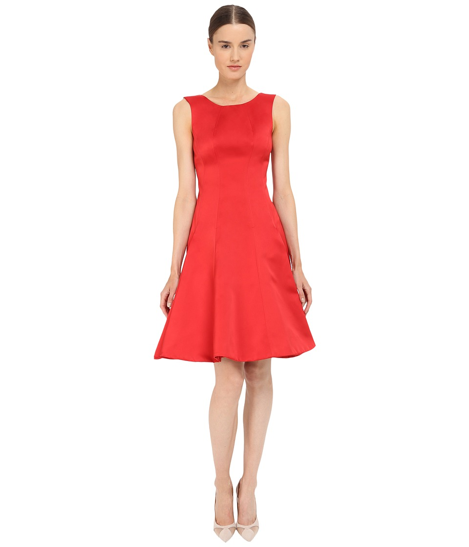 Zac Posen Satin Double Face Duchess Fit and Flare Sleeveless Dress (Hibiscus) Women