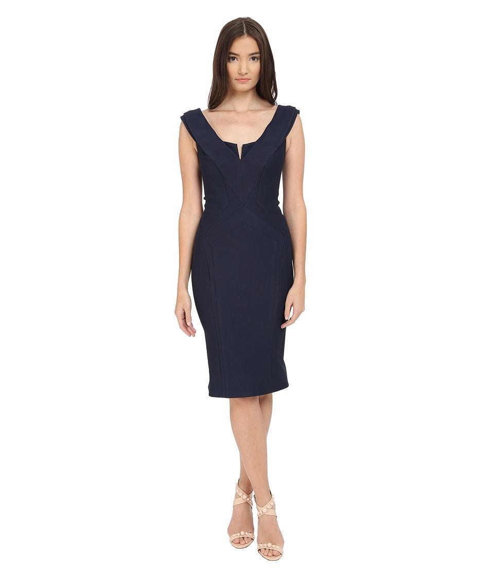 Zac Posen Cap Sleeve Bondage Jersey Dress (Navy) Women