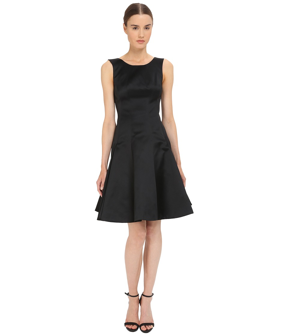 Zac Posen - Satin Double Face Duchess Fit and Flare Sleeveless Dress (Licorice) Women's Dress