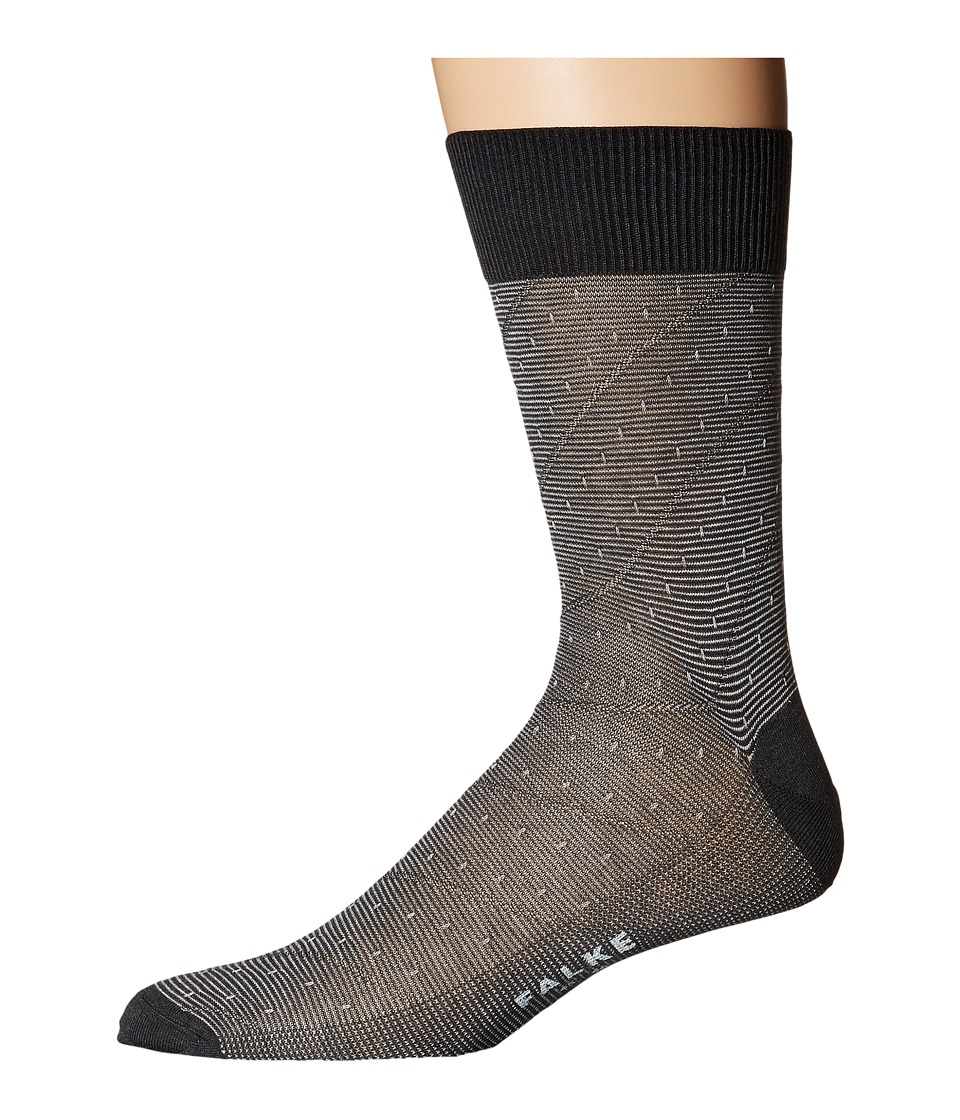 Falke - Fine Stripe Tie Sock (Anthracite Melange) Men's Crew Cut Socks Shoes