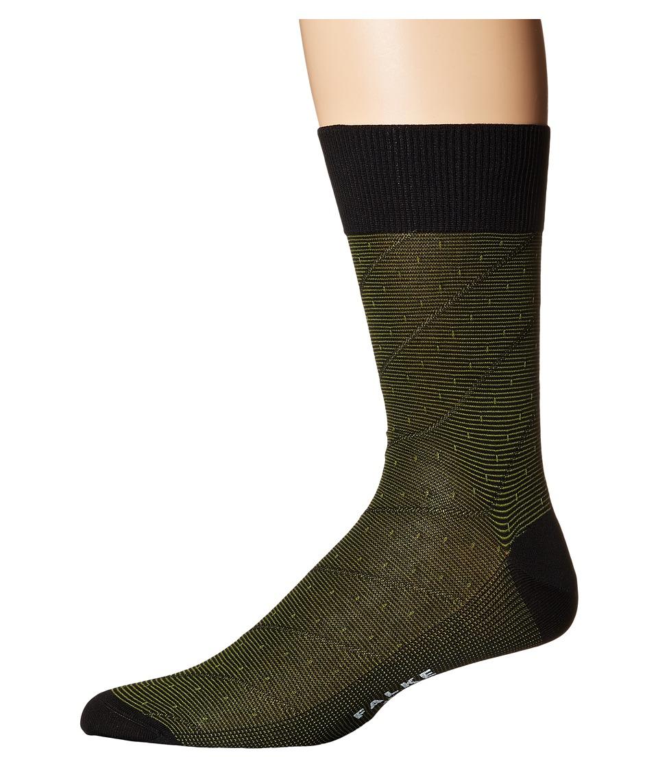 Falke - Fine Stripe Tie Sock (Black) Men's Crew Cut Socks Shoes