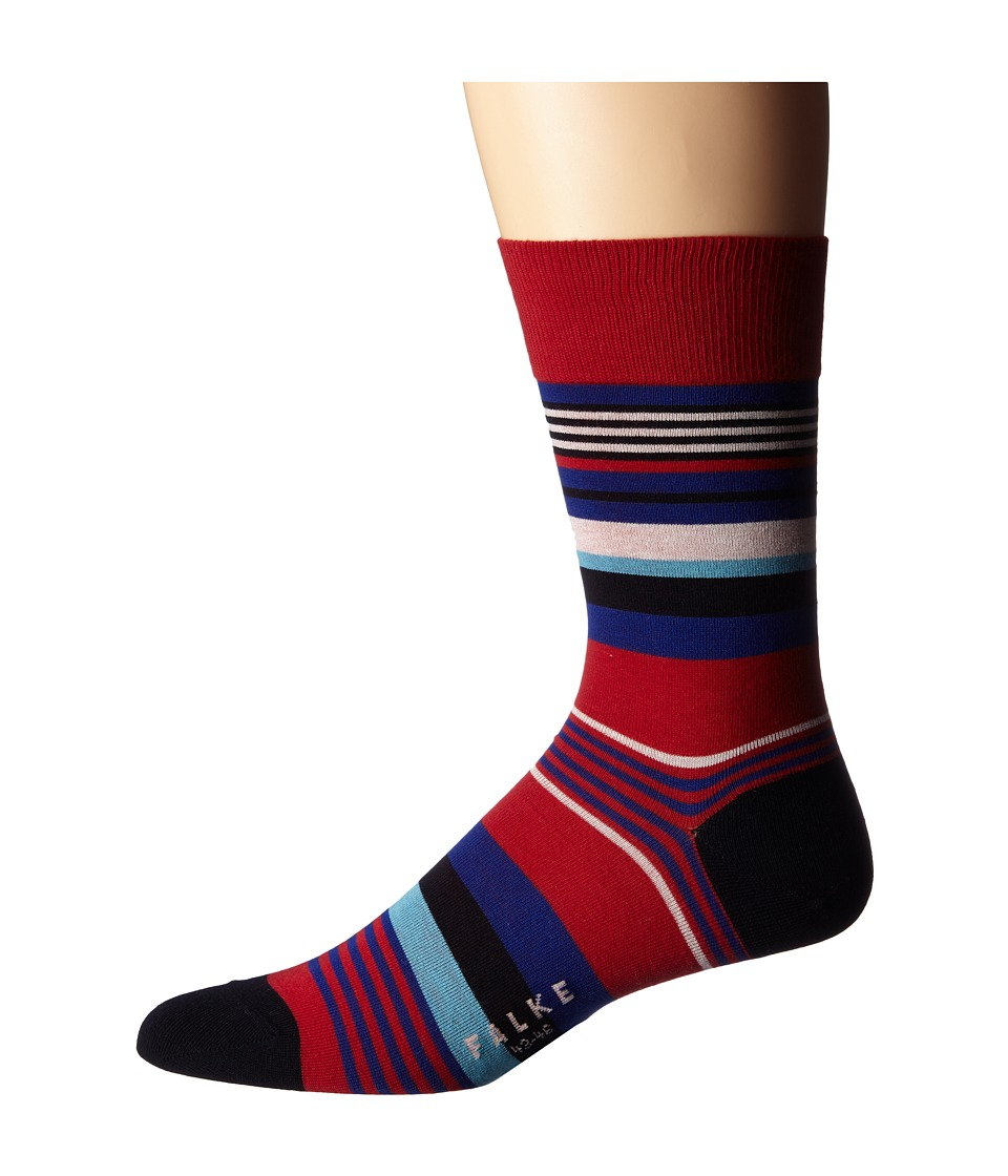 Falke - Multi Stripe Sock (Scarlet) Men's Crew Cut Socks Shoes