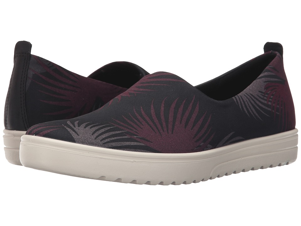 ECCO - Fara Slip-On (Black Palm Print/Black) Women's Slip on Shoes
