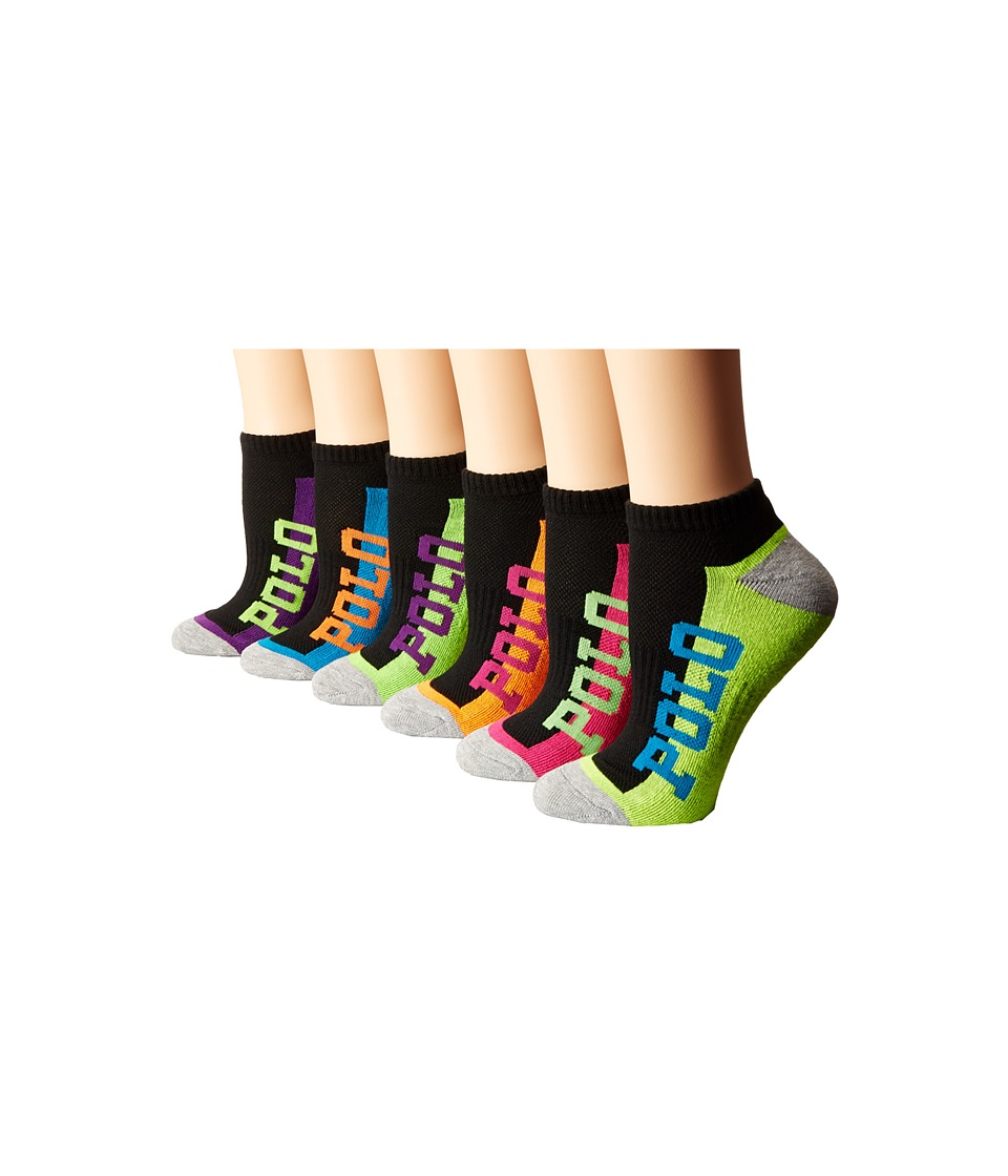 LAUREN Ralph Lauren - Cushion Sole Ped 6-Pack with Logo On Side (Black Assorted) Women's Low Cut Socks Shoes
