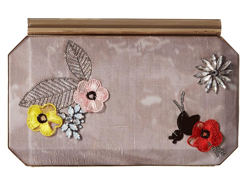 Oscar de la Renta - Saya (Grey Embroidered Satin) Handbags