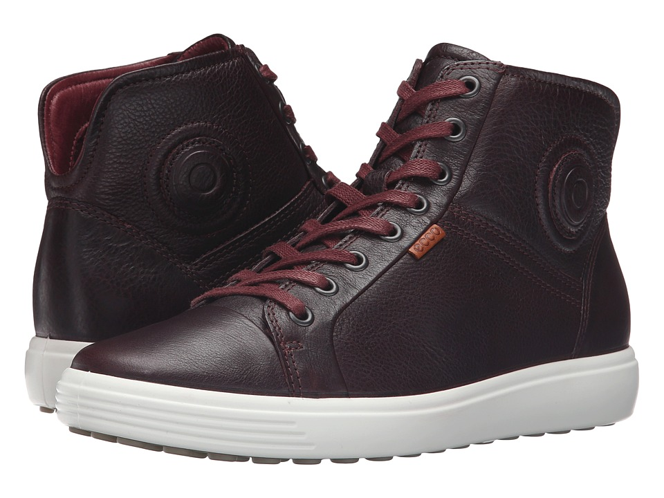 ECCO - Soft VII High Top (Bordeaux) Women's Lace up casual Shoes