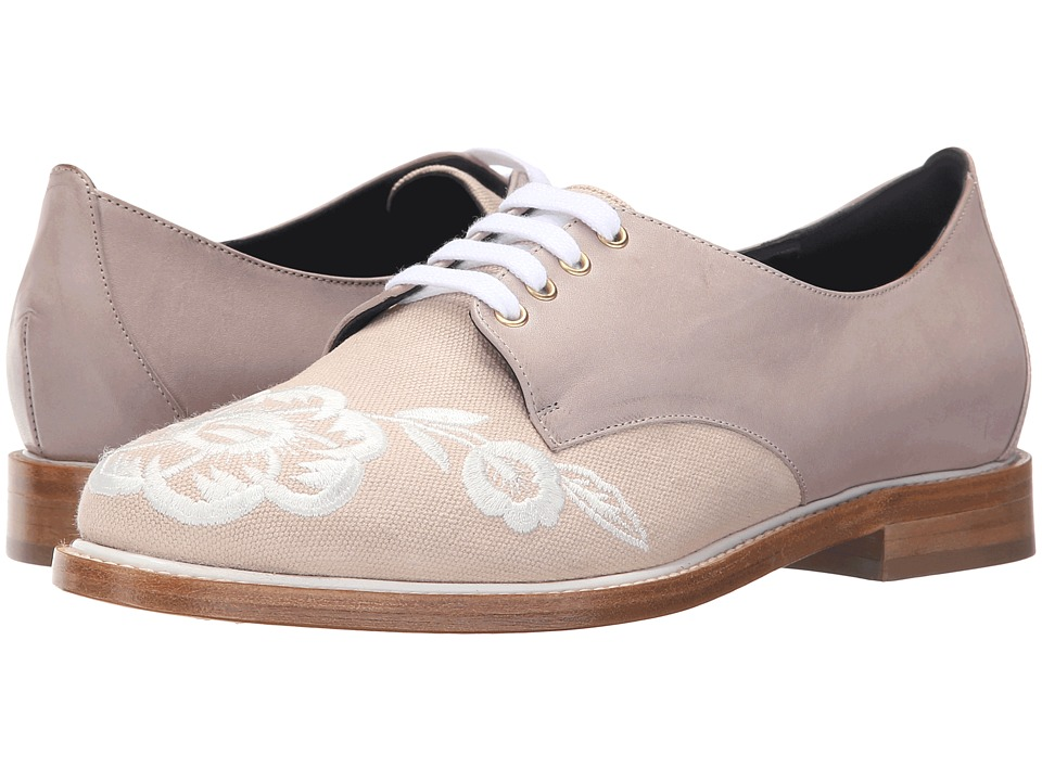Oscar de la Renta - Adelayne (Clay Embroidered Canvas) Women's Lace up casual Shoes