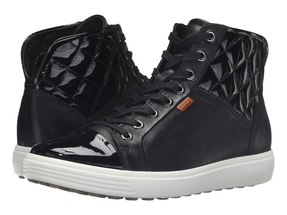 ECCO - Soft 7 Quilted High Top (Black/Black/Powder) Women's Lace up casual Shoes