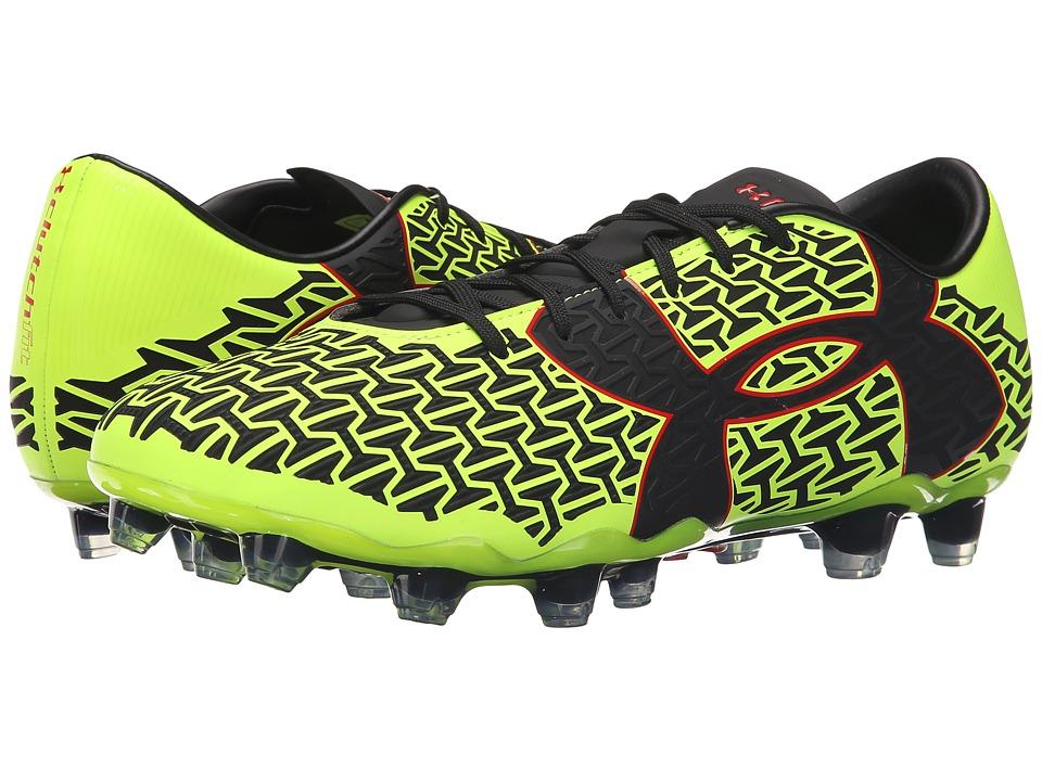 Under Armour - UA Clutchfittm Force 2.0 FG (Black/Graphite/High-Vis Yellow) Men's Soccer Shoes