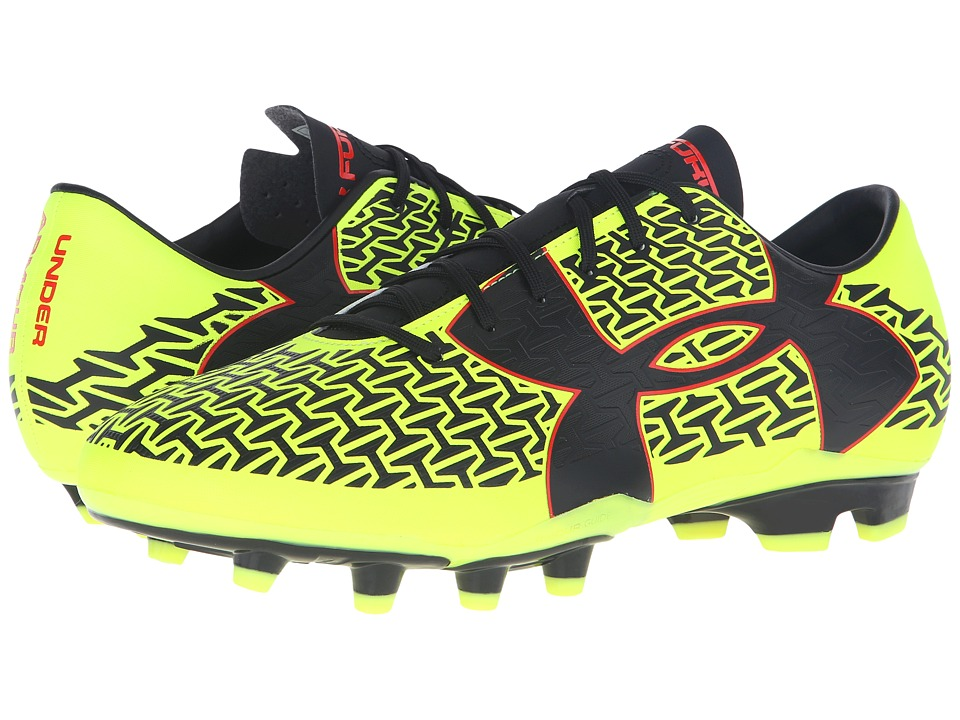 Under Armour - UA CF Force 2.0 FG (High-Vis Yellow/Rocket Red/Black) Men's Soccer Shoes