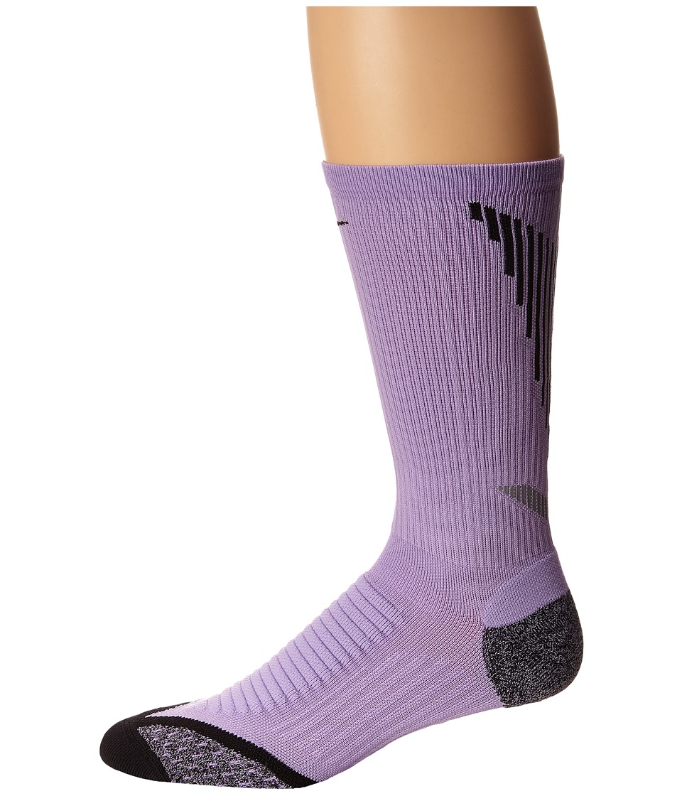 Nike - Elite Running Cushion Crew (Urban Lilac/Black/Black) Crew Cut Socks Shoes