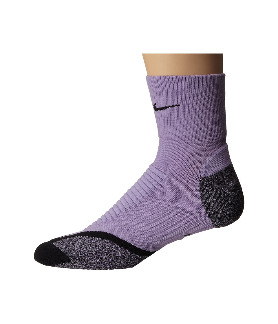 Nike - Nike Elite Running Cushion Quarter (Urban Lilac/Black/Black) Quarter Length Socks Shoes