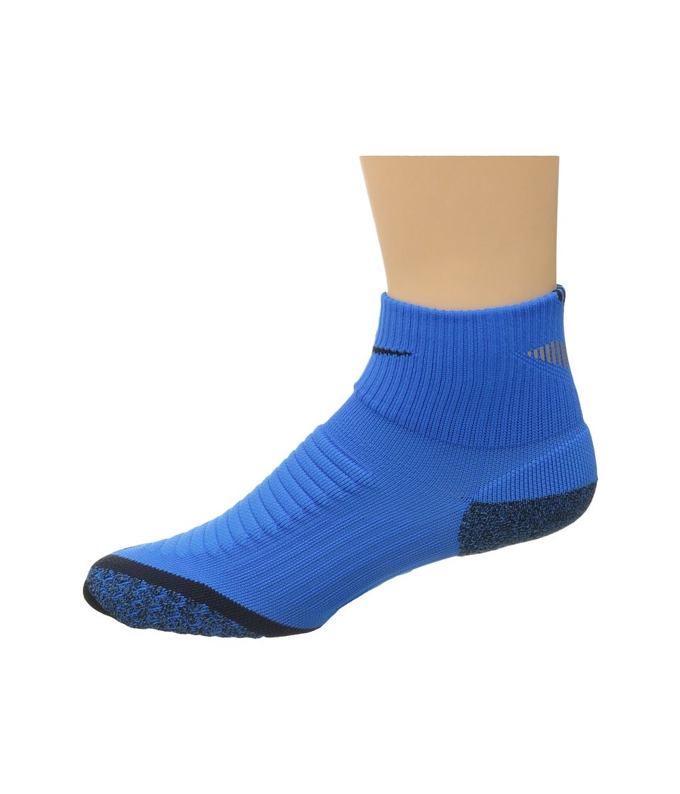 Nike - Nike Elite Running Cushion Quarter (Photo Blue/Black/Black) Quarter Length Socks Shoes