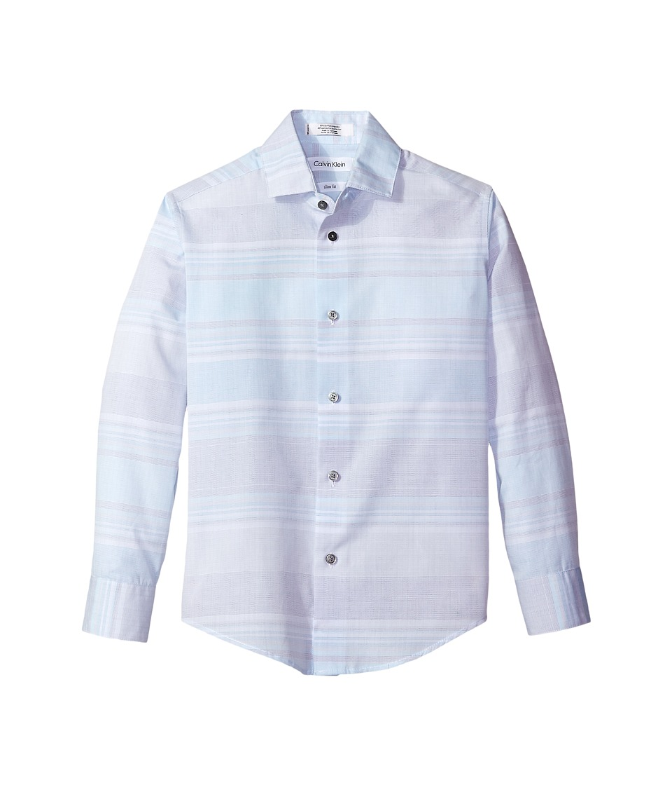 Calvin Klein Kids - Varigated Stripe Phantom Check Long Sleeve Shirt (Big Kids) (Light Blue) Boy's Long Sleeve Pullover
