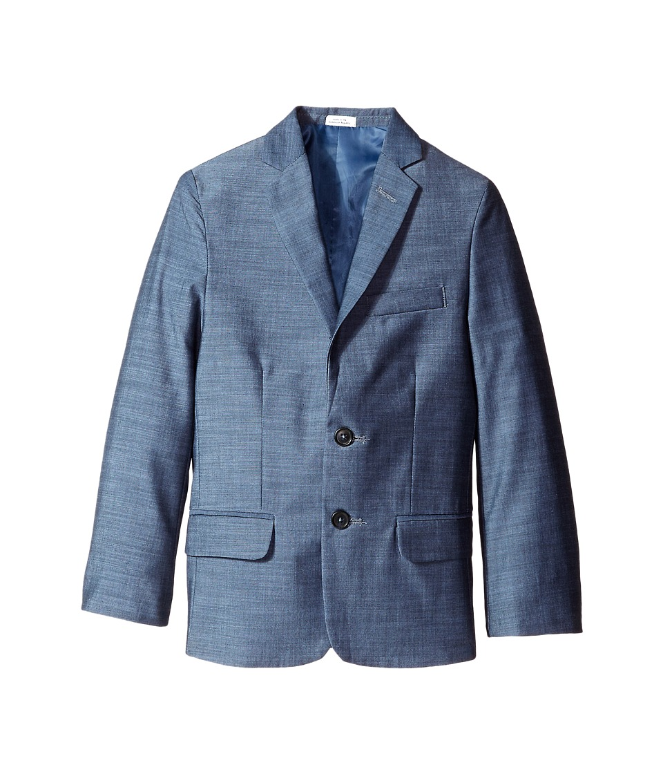 Calvin Klein Kids - Plain Weave Slub Jacket (Big Kids) (Medium Blue) Boy's Coat
