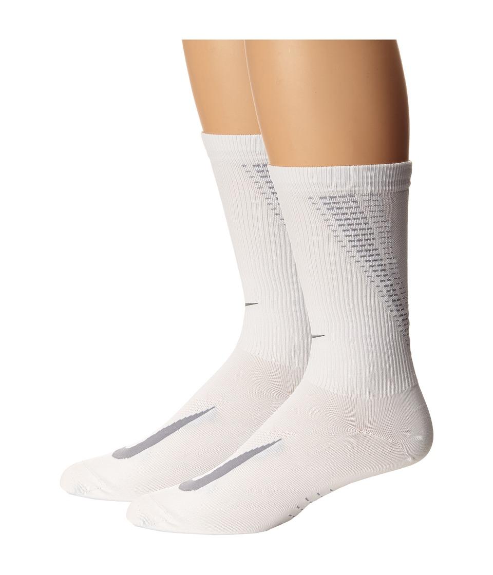 Nike Elite Run Lightweight 2.0 Crew (White/Wolf Grey) Crew Cut Socks Shoes