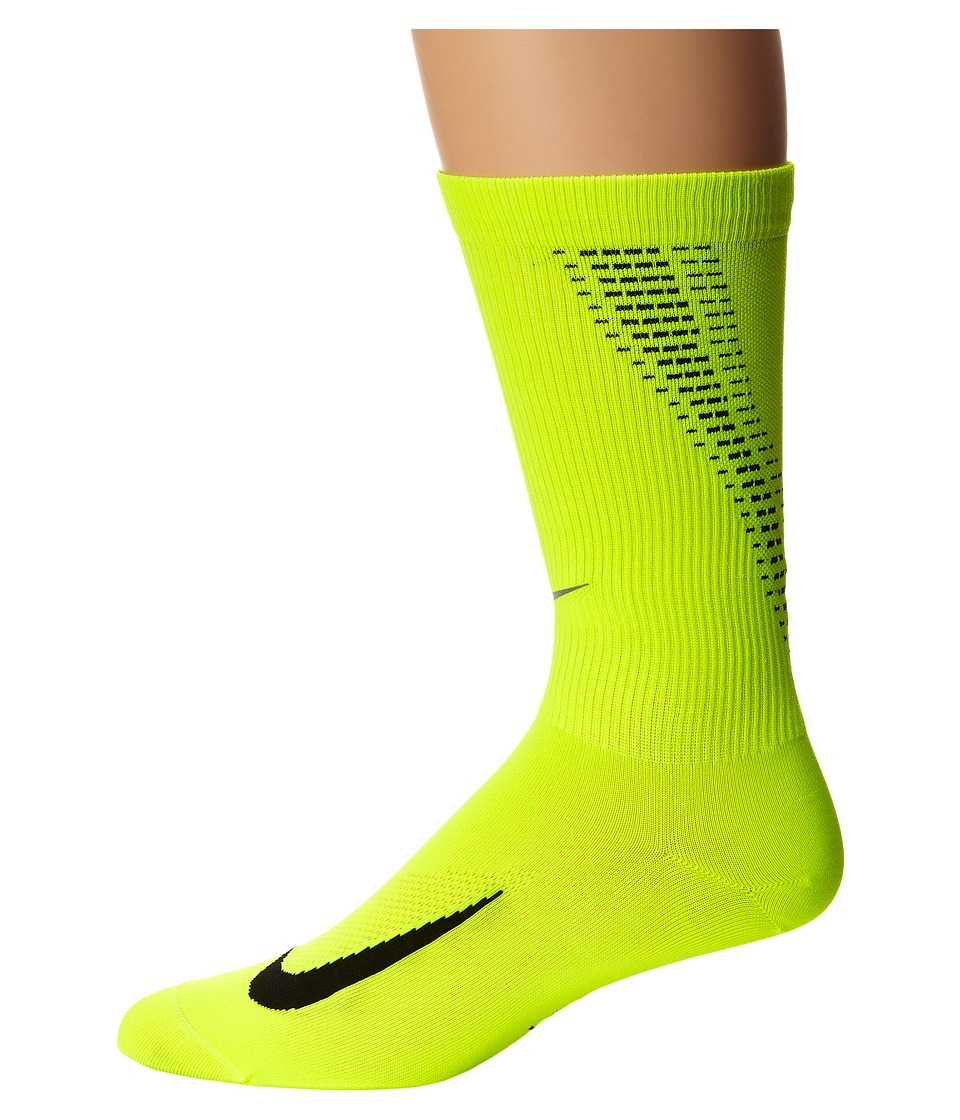 Nike Elite Run Lightweight 2.0 Crew (Volt/Black) Crew Cut Socks Shoes