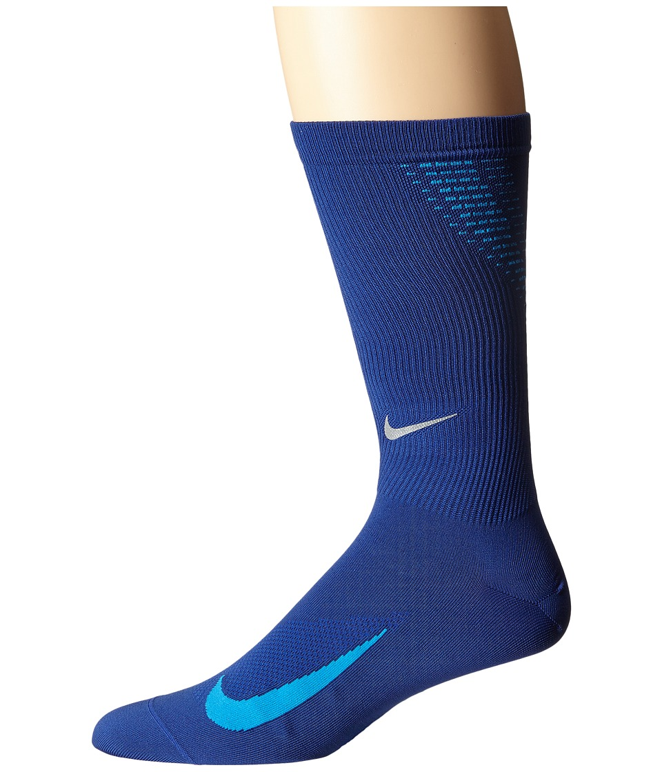 Nike - Elite Run Lightweight 2.0 Crew (Deep Royal Blue/Photo Blue) Crew Cut Socks Shoes