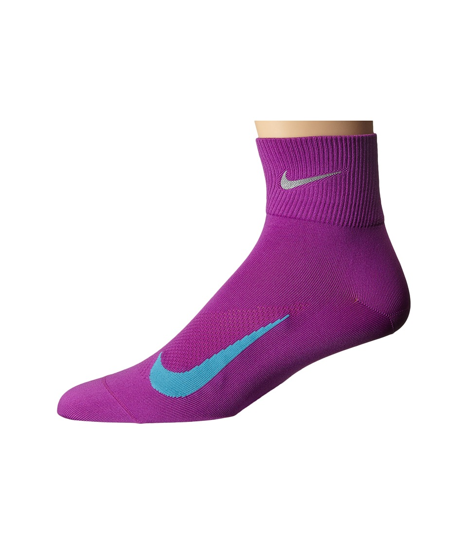 Nike - Elite Run Lightweight 2.0 Quarter (Cosmic Purple/Omega Blue) Quarter Length Socks Shoes