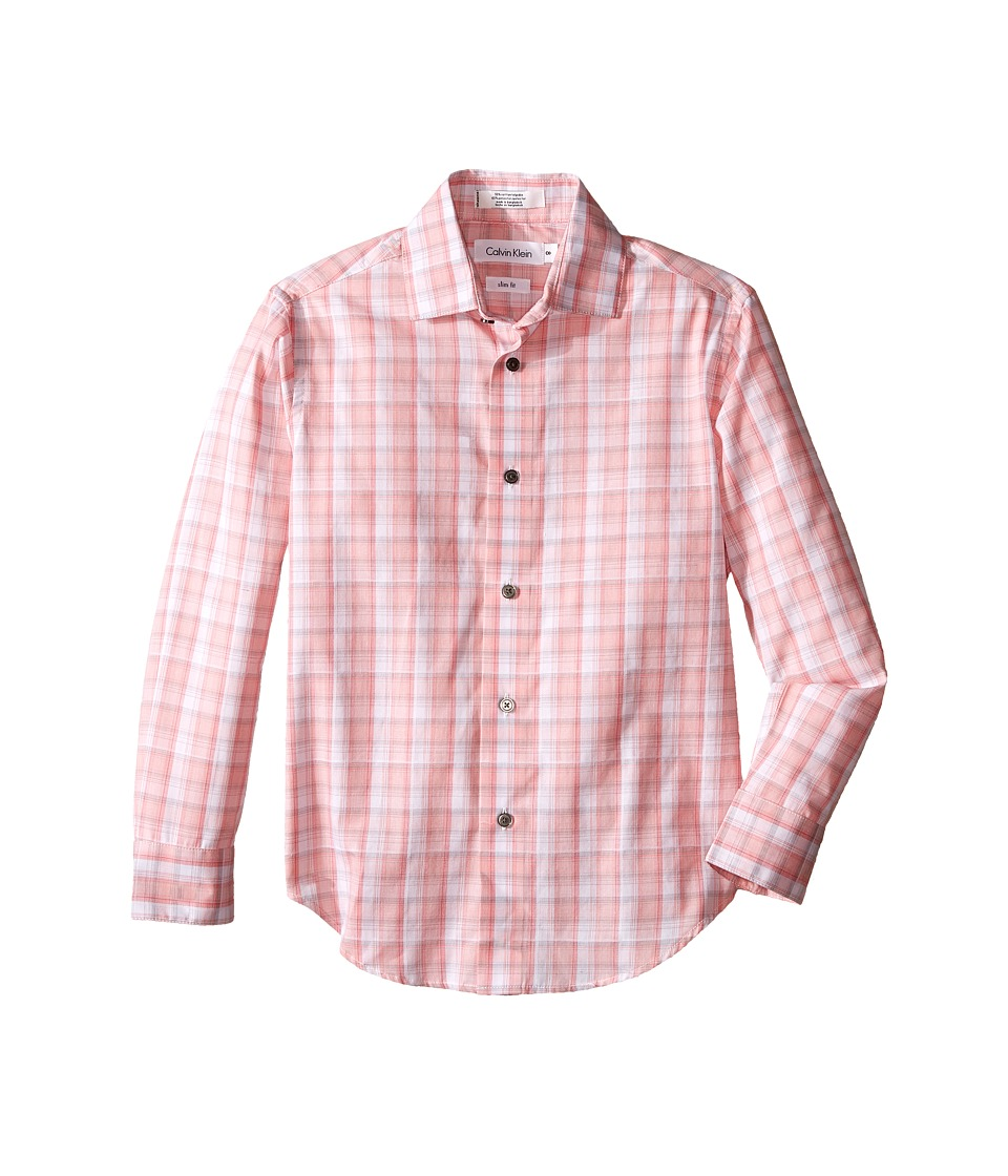 Calvin Klein Kids - Edge Plaid Long Sleeve Shirt (Big Kids) (Coral) Boy's Long Sleeve Pullover