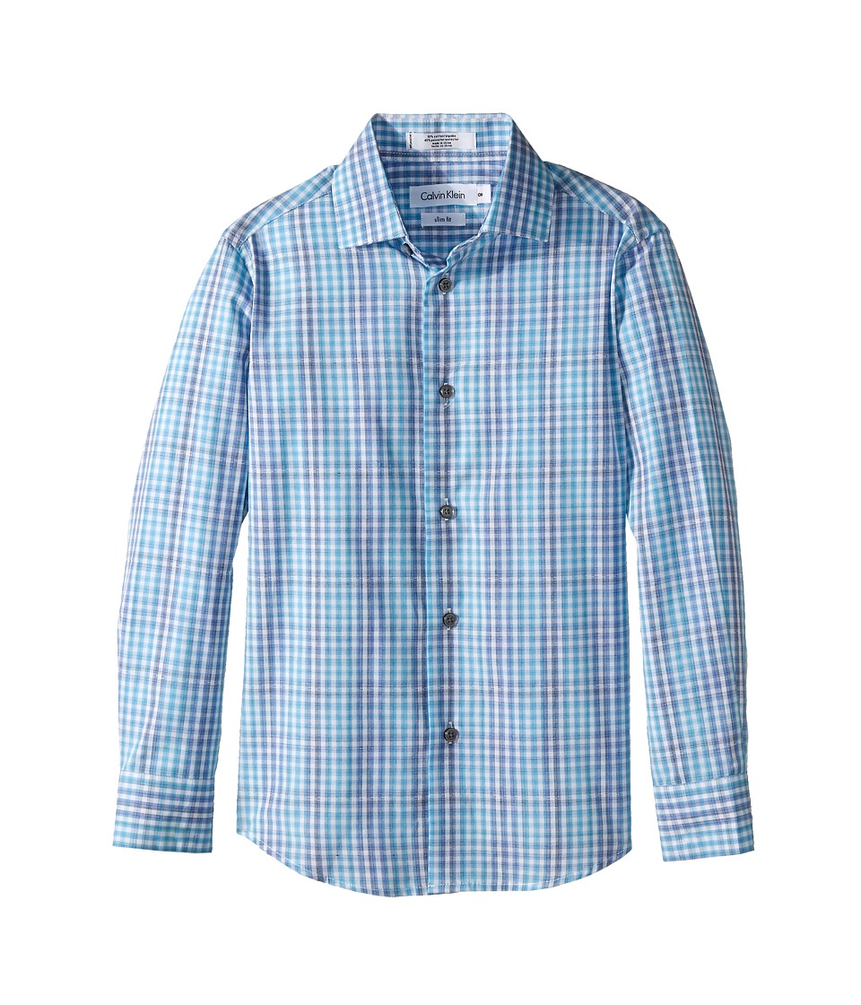 Calvin Klein Kids - Flight Plaid Long Sleeve Shirt (Big Kids) (Medium Blue) Boy's Long Sleeve Pullover