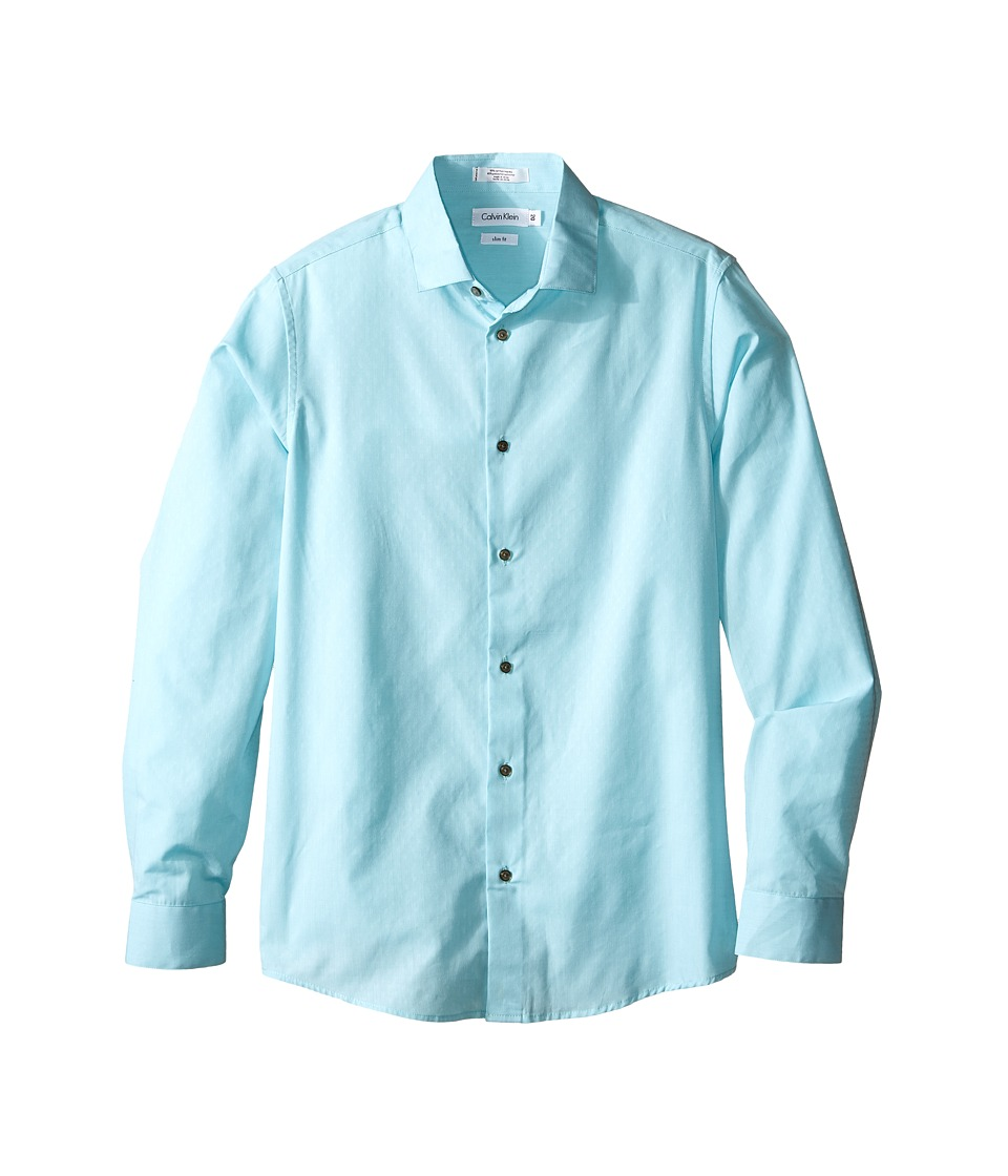 Calvin Klein Kids - End on End Dobby Long Sleeve Shirt (Big Kids) (Light Blue) Boy's Long Sleeve Pullover