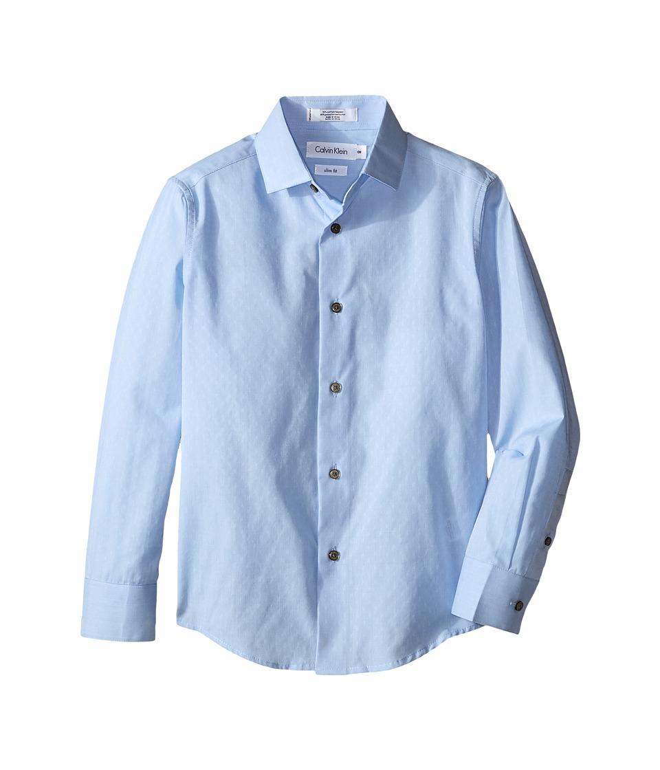 Calvin Klein Kids - End on End Dobby Long Sleeve Shirt (Big Kids) (Blue) Boy's Long Sleeve Pullover