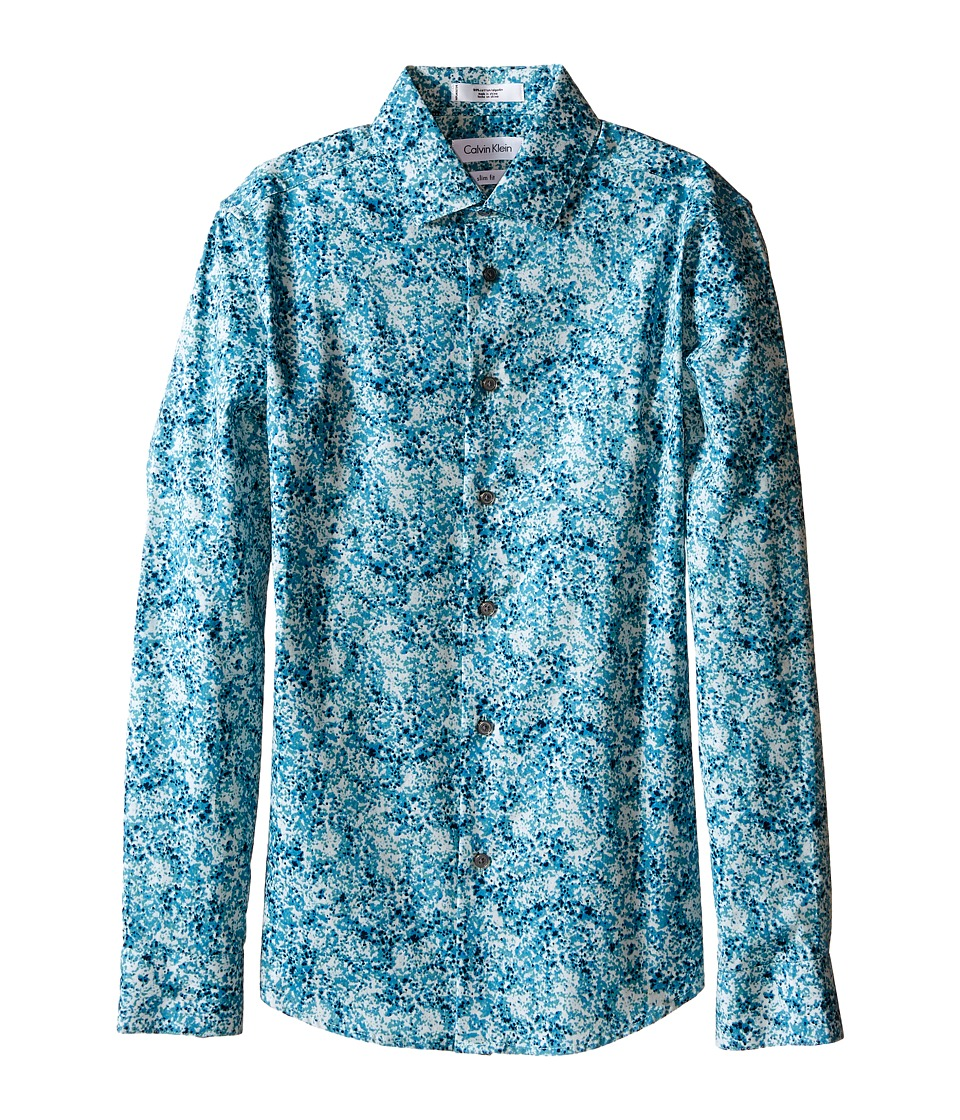 Calvin Klein Kids - Floral Camo Print Long Sleeve Shirt (Big Kids) (Bright Blue) Boy's Long Sleeve Button Up