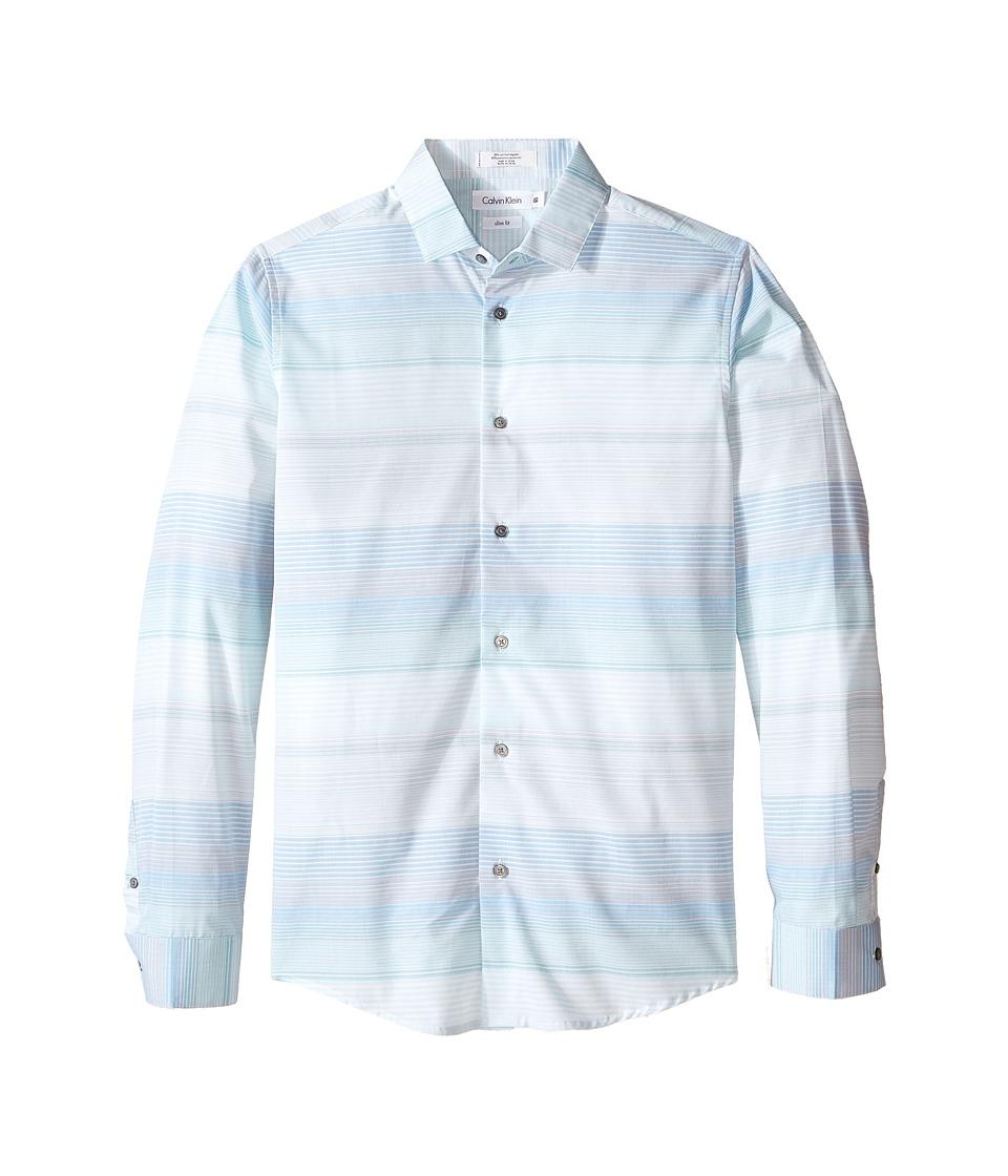 Calvin Klein Kids - Velocity Horizontal Micro Stripe Long Sleeve Stripe Shirt (Big Kids) (Mint) Boy's Long Sleeve Button Up