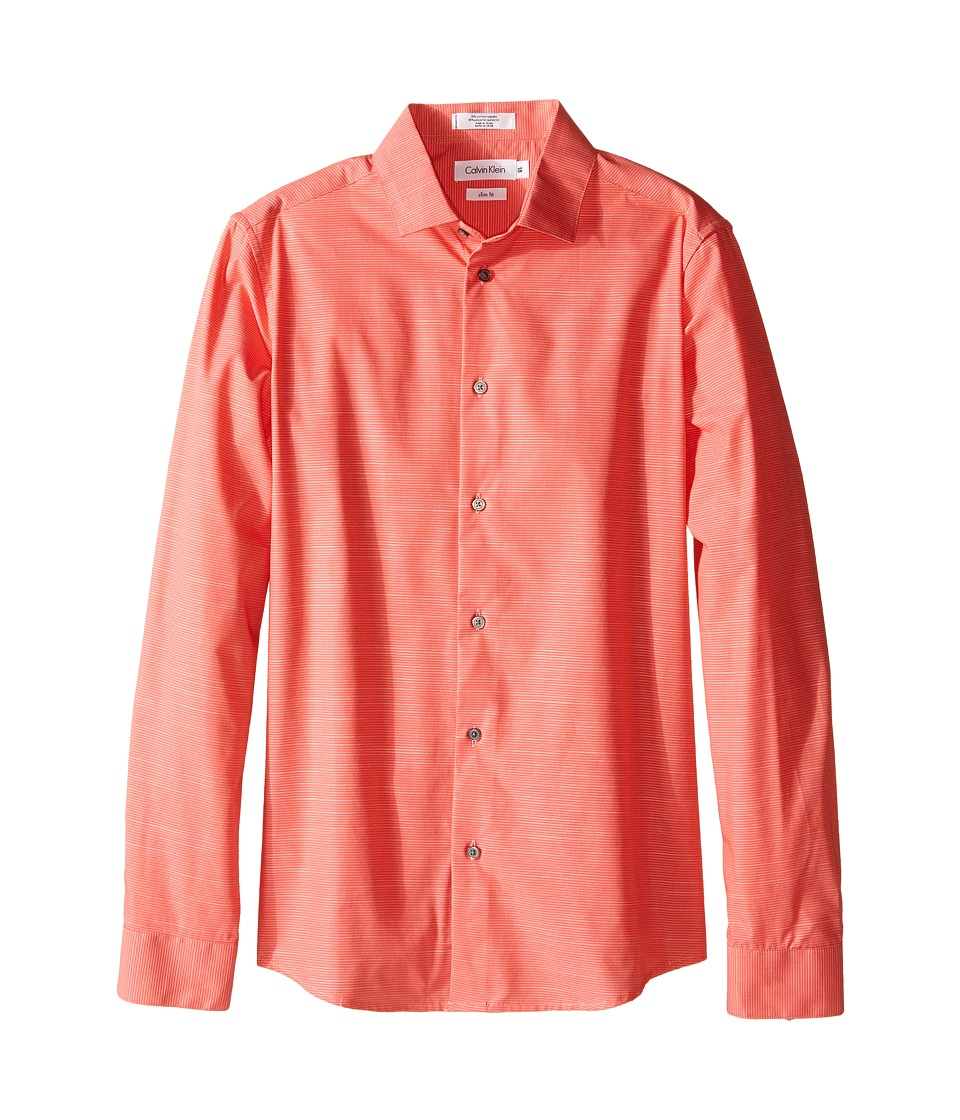 Calvin Klein Kids - Faded Horizontal Stripe Long Sleeve Shirt (Big Kids) (Bright Coral) Boy's Long Sleeve Pullover