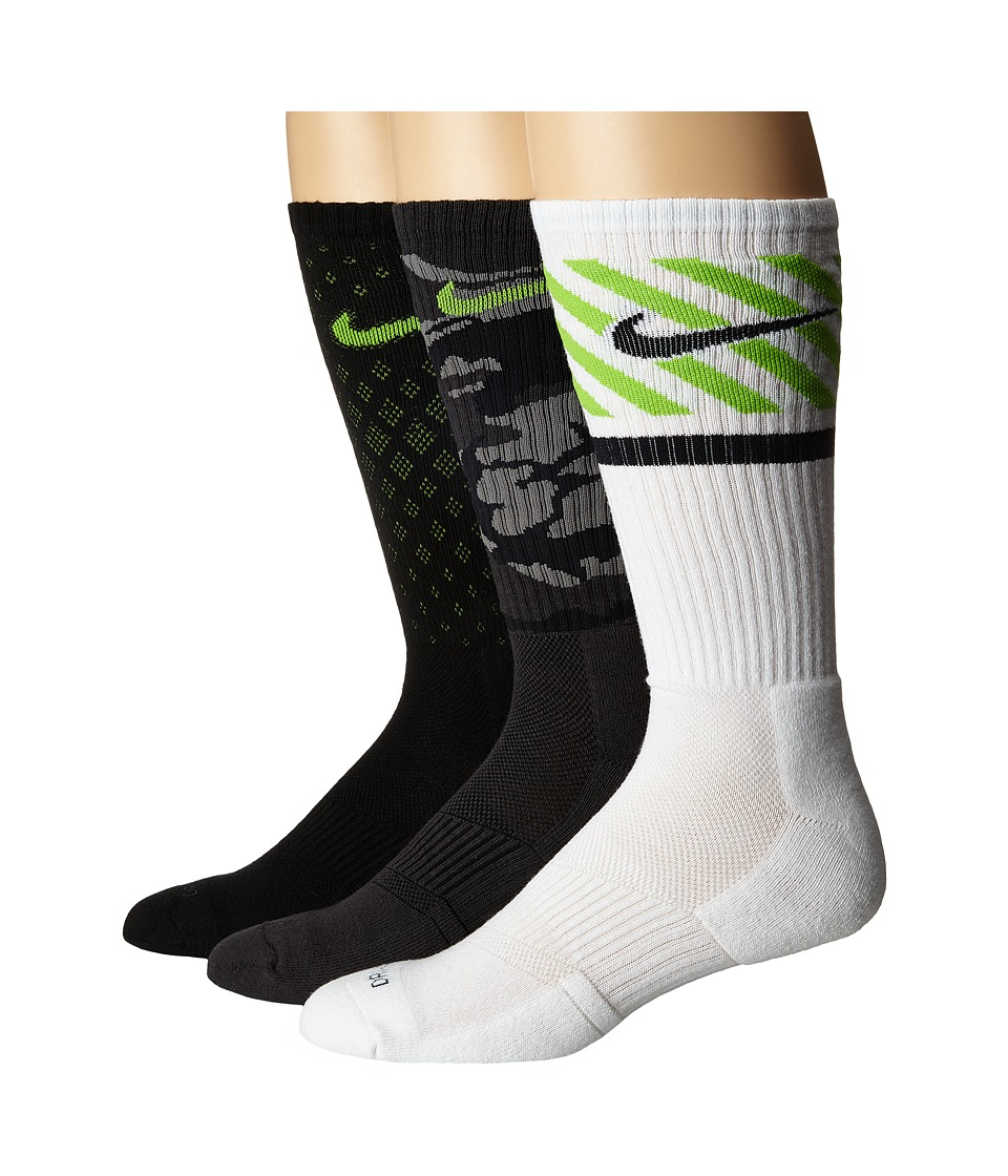 Nike - Dri-FIT Triple Fly Crew 3-Pack (Multicolor) Crew Cut Socks Shoes