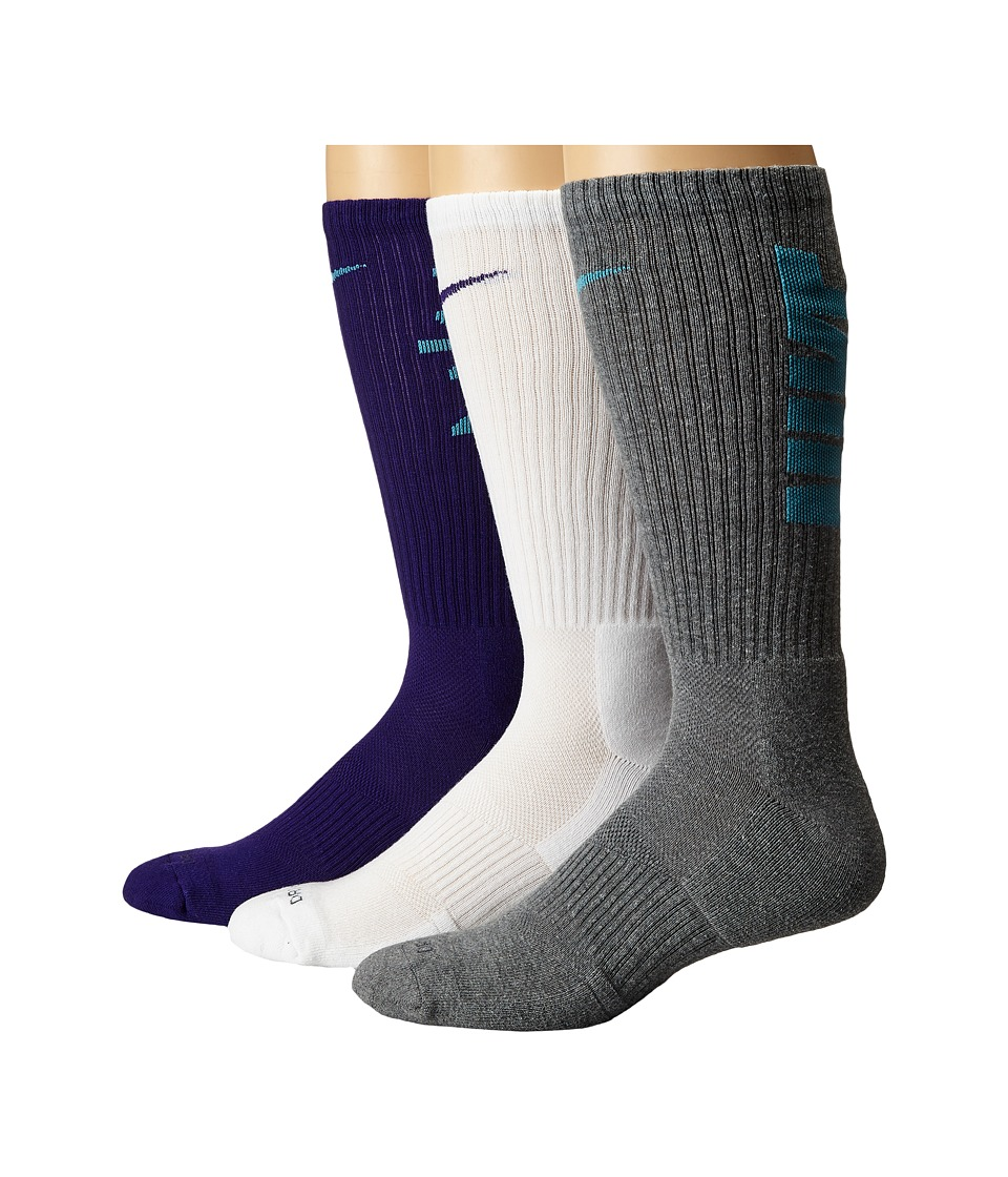 Nike - Dri-Fit Fly V4 Crew 3-Pack (Multicolor 4) Crew Cut Socks Shoes