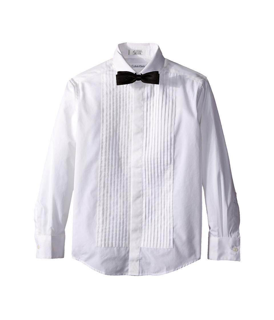 Calvin Klein Kids - Long Sleeve Tuxedo Shirt and Bowtie Set (Big Kids) (White) Boy's Suits Sets